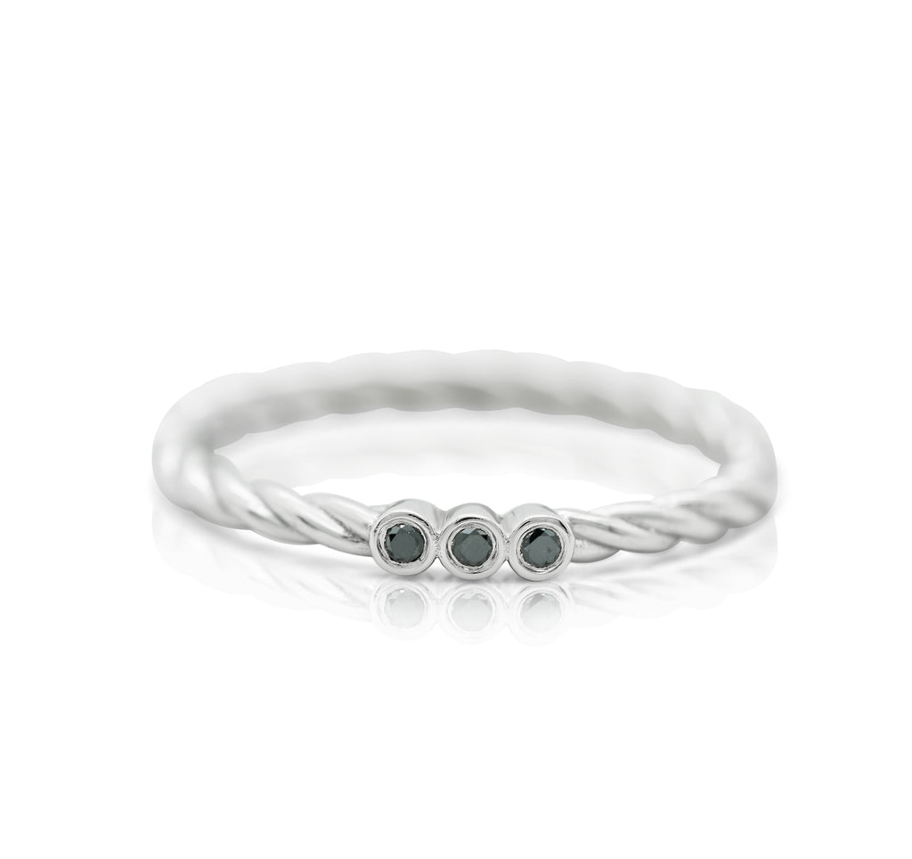 white gold braided band stack ring with black diamonds