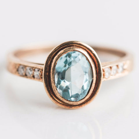 estate yellow gold 18kt blue gemstone antique ring