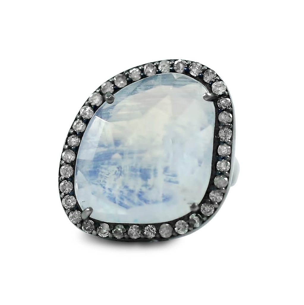 rainbow moonstone ring set in blackened sterling silver with a matching diamond halo