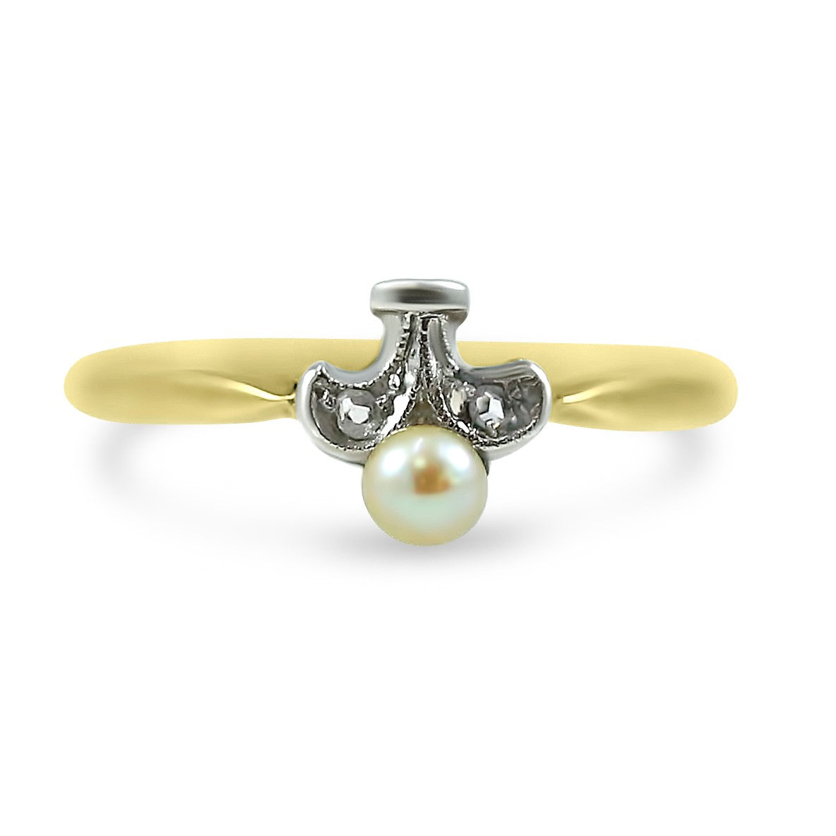 18k yellow gold pearl and diamond estate right hand ring under $200