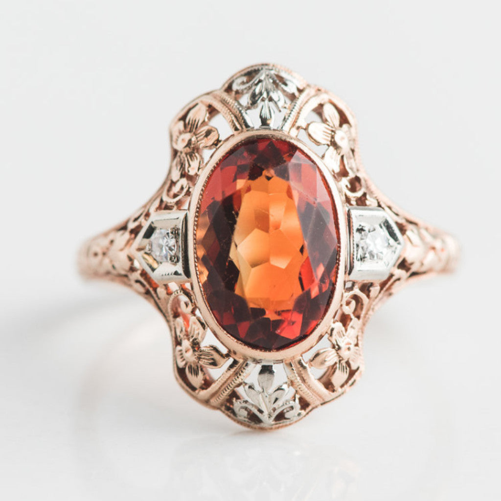 yellow gold diamond and orange estate ring