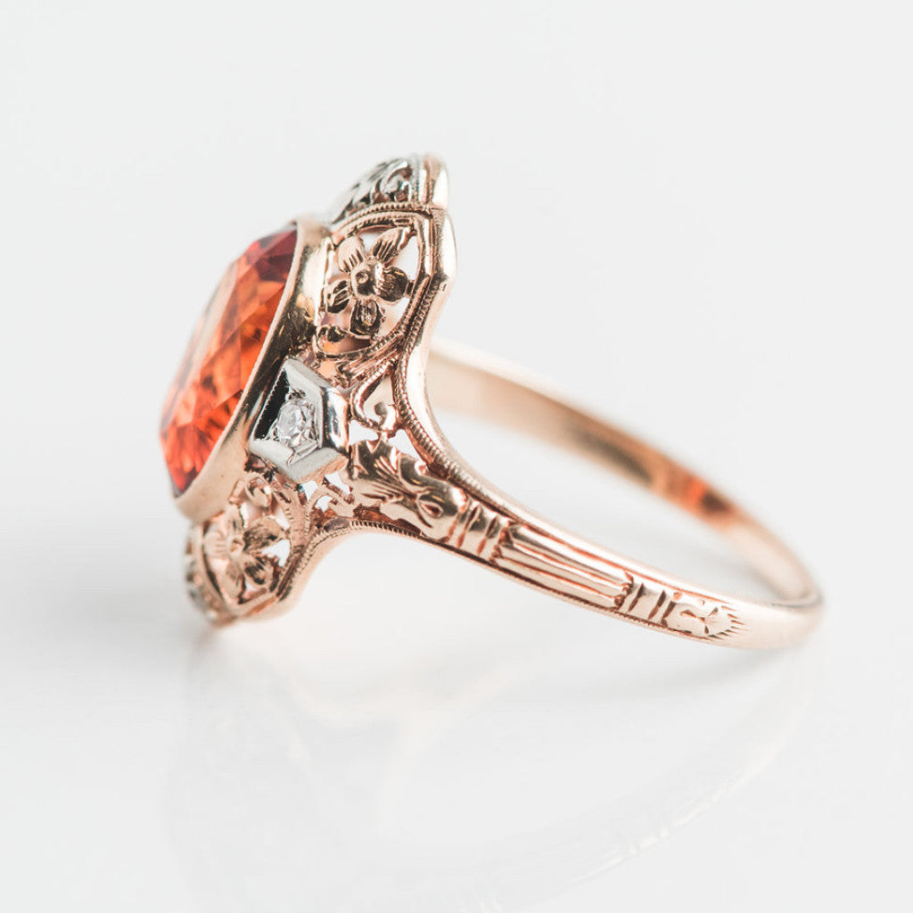 yellow gold diamond and orange estate ring side view