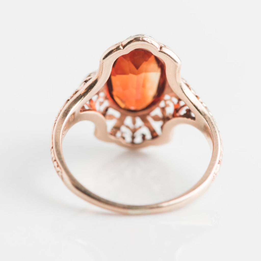 yellow gold diamond and orange estate ring back view
