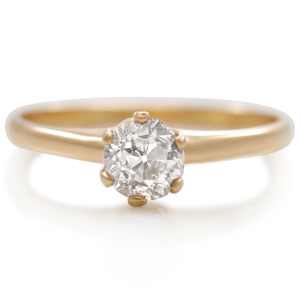 classic solitaire yellow gold diamond estate engagement ring