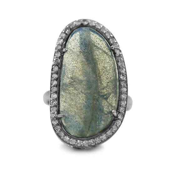 laboradorite gemstone statement ring with a diamond halo in blackened sterling silver