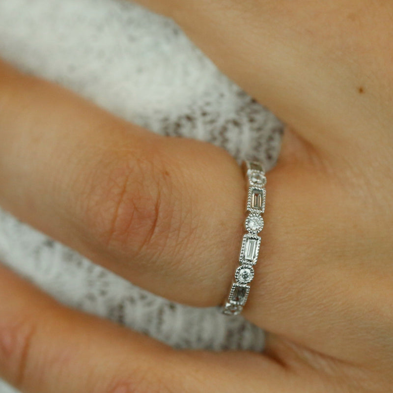 white gold and diamond Art Deco inspired stack ring or wedding band