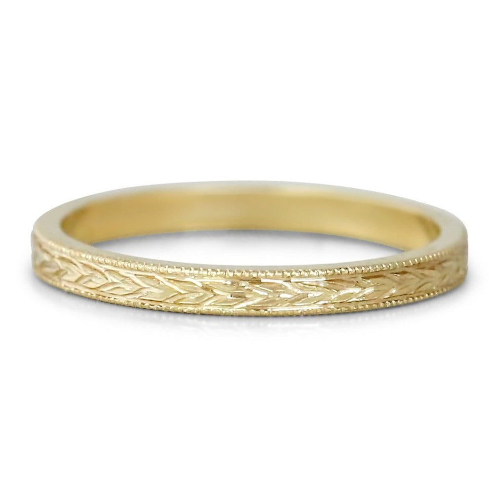 14k yellow white or rose gold milgrain engraved wedding band