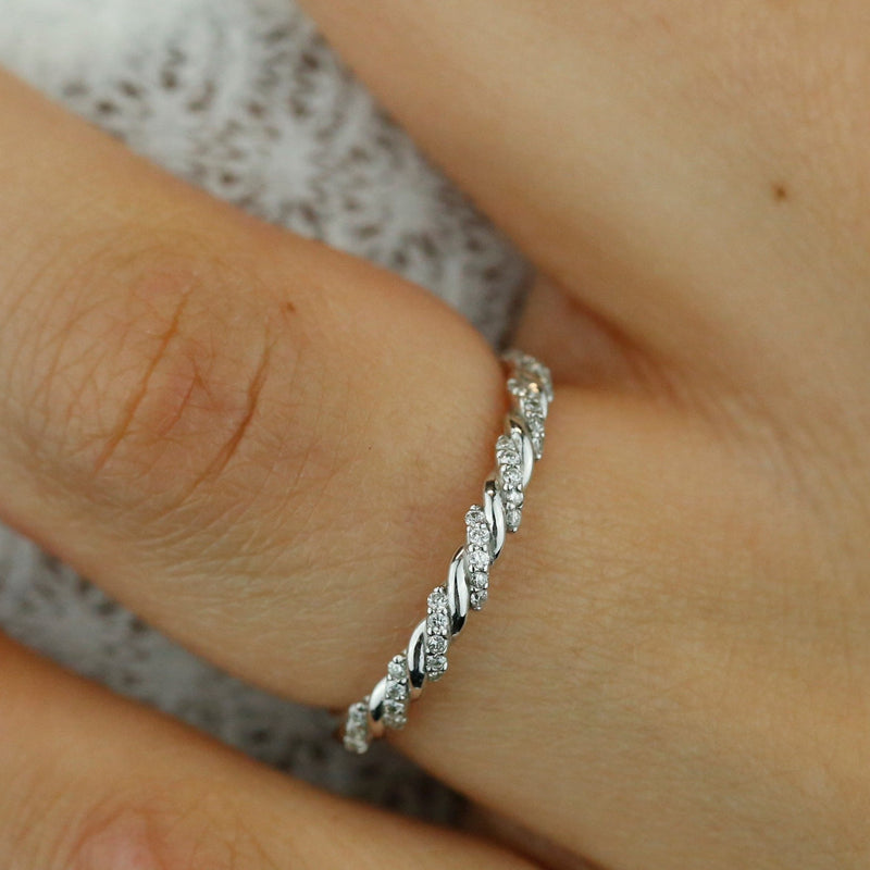 pave white gold twisted wedding band