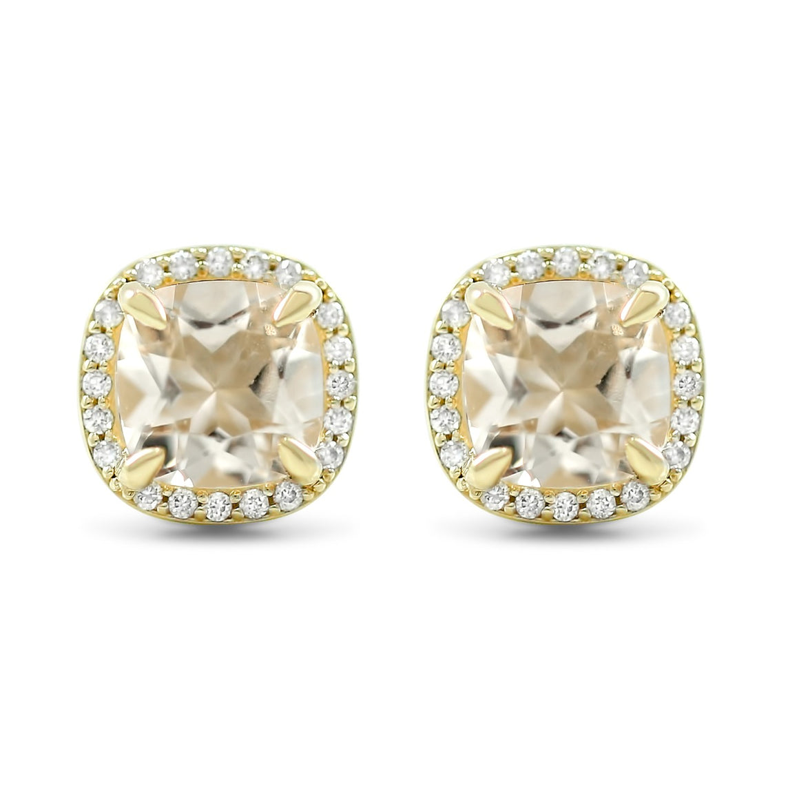 1.59tcw cushion cut peach beryl gemstone stud earrings with matching white diamond halo 14k yellow gold