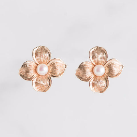 dogwood pearl flower earrings