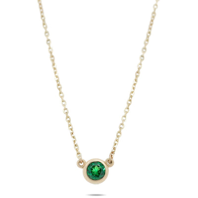 14k yellow gold bezel set green tsavorite gemstone necklace on a 16in chain under 1000