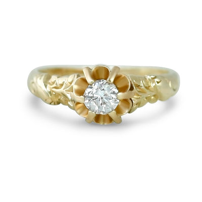 14k yellow gold antique buttercup setting engagement ring with an old european cut diamond center stone