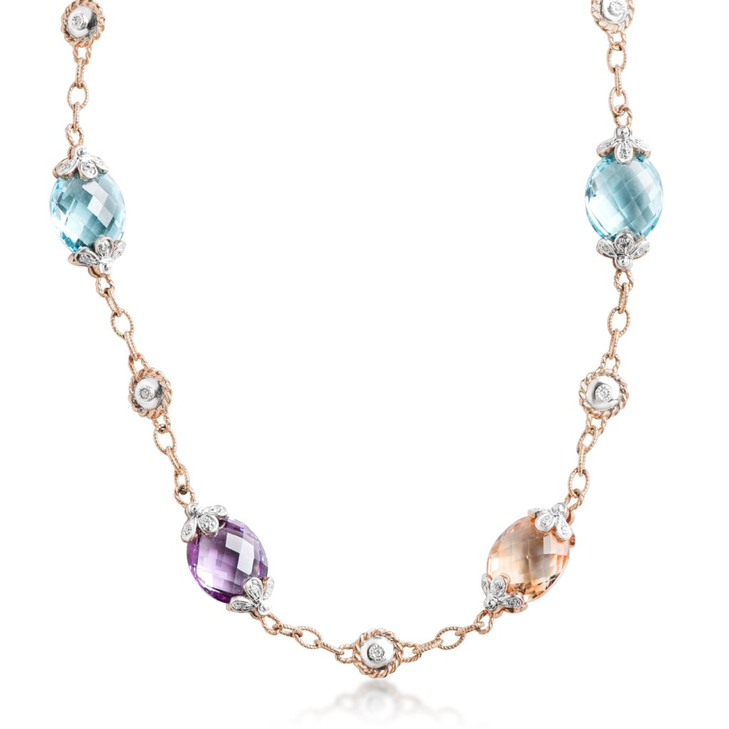 natural cut estate gemstone necklace with blue topaz, amethyst, citrine and bezel set white diamonds with milgrain