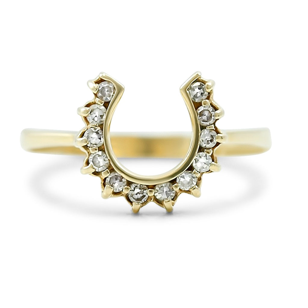 horseshoe shaped victorian diamond ring set in 14k yellow gold single cut diamonds