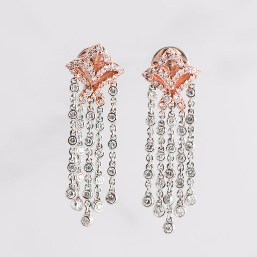rose gold and circle diamond earrings
