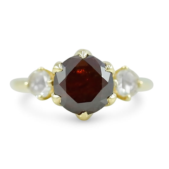 14k yellow gold rose cut fancy dark brown diamond engagement ring with rose cut diamonds on both sides.