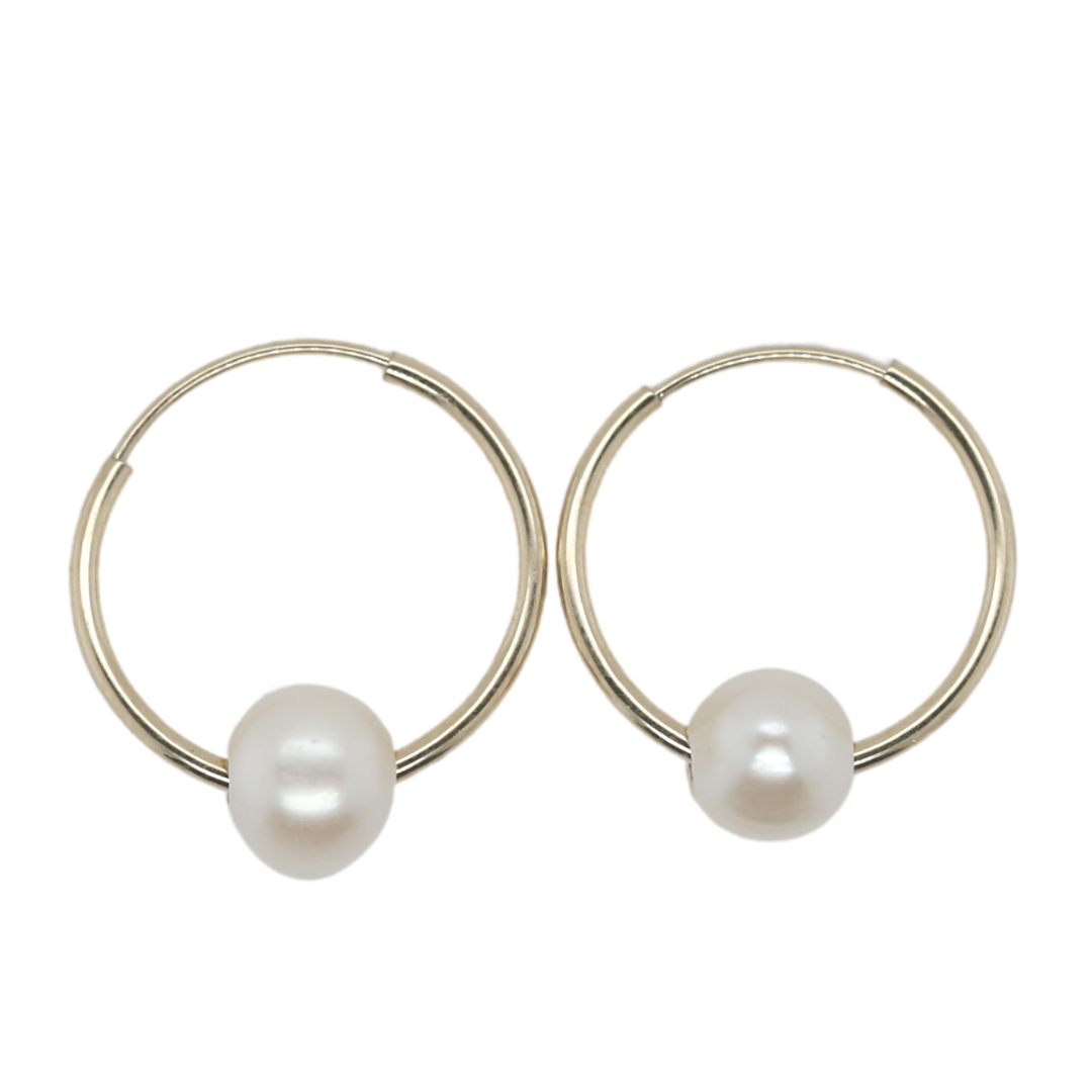 14k yellow gold freshwater pearl huggies under $200