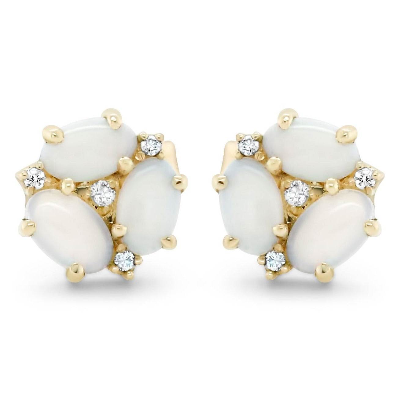 14k yellow gold opal and diamond cluster stud earrings