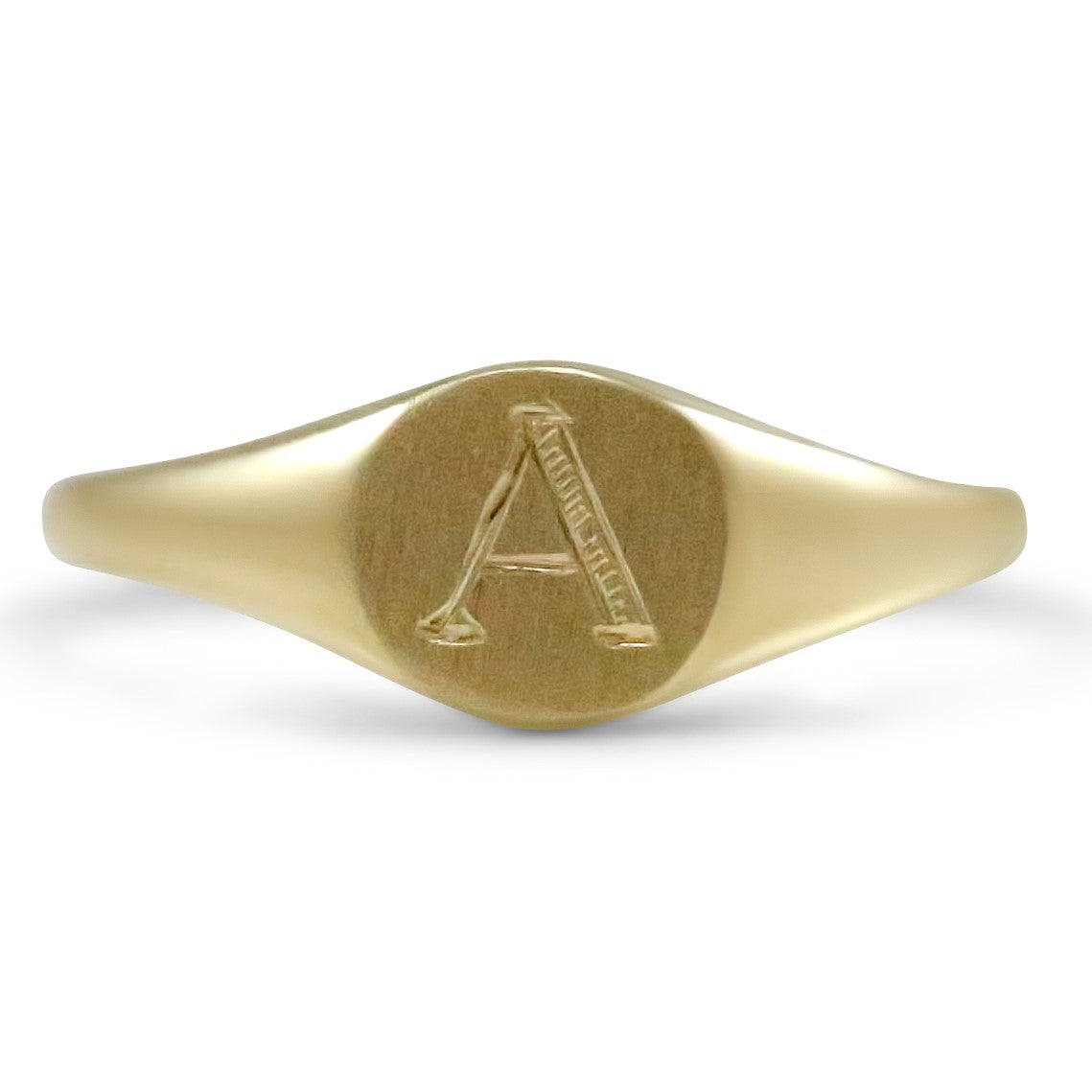 14k yellow gold signet ring with hand engraved initial. A-Z available under $500