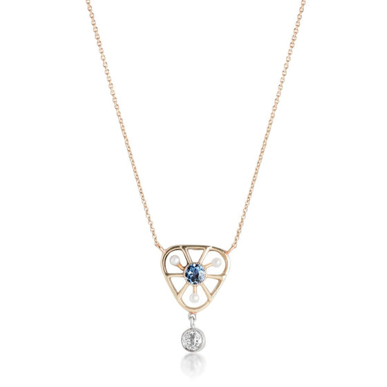 Pearl sapphire and diamond estate pendant necklace with a yellow gold chain
