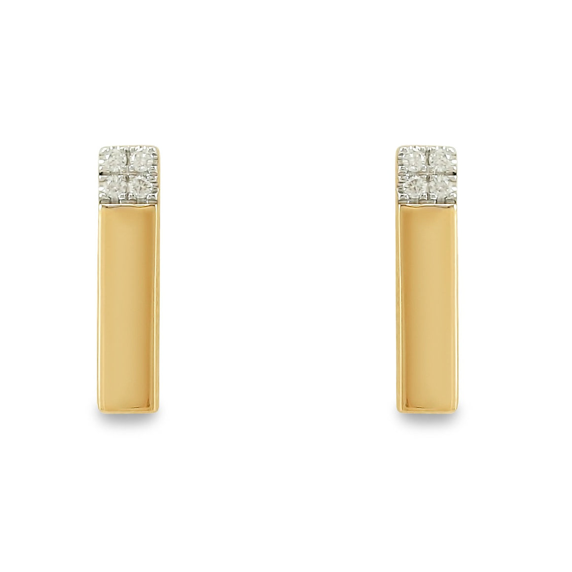 14k yellow gold bar diamond stud earrings