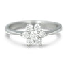 14k white gold flower estate diamond engagement ring