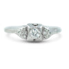 platinum art deco engagement ring with a 0.25ct Old European cut diamond center stone