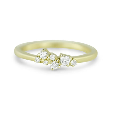 14k yellow gold diamond cluster stack ring or wedding band