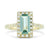 14k yellow gold 1.16ct afghan tourmaline gemstone ring with a diamond halo and diamonds on the band