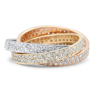 14k yellow, white and rose gold estate diamond rolling ring