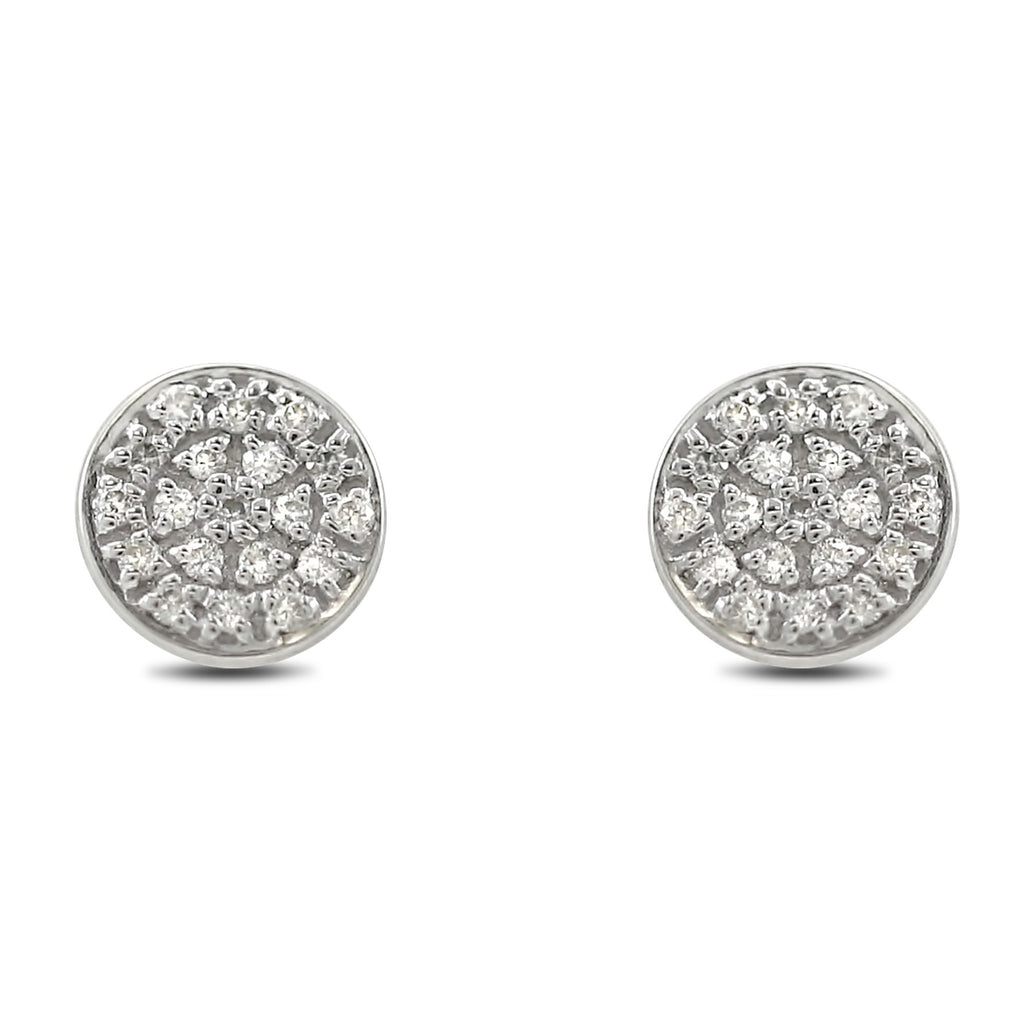 14k white gold circle diamond stud earrings under 500