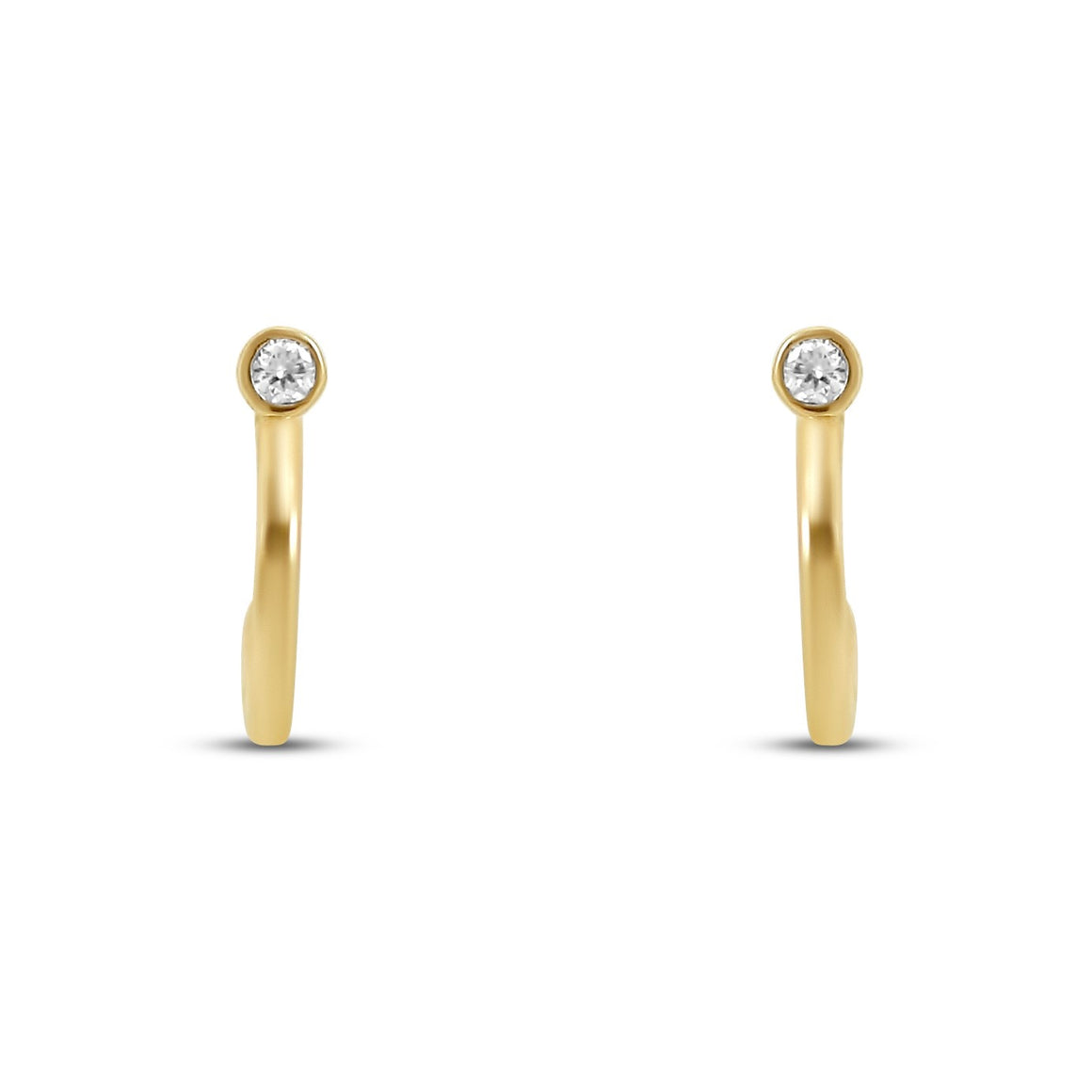 14k yellow gold 2mm hoop earrings with dainty bezel set diamonds