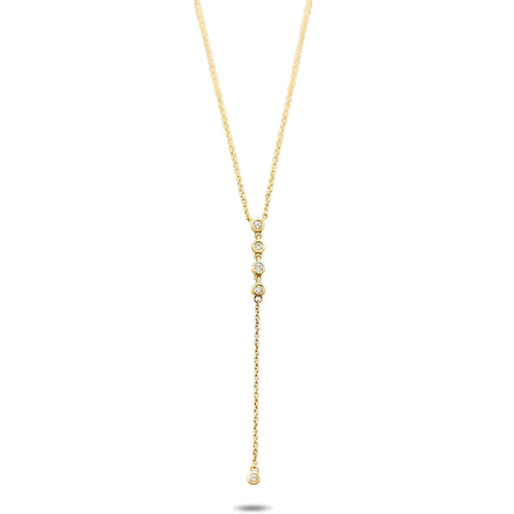 14k yellow gold bezel set diamond lariat necklace