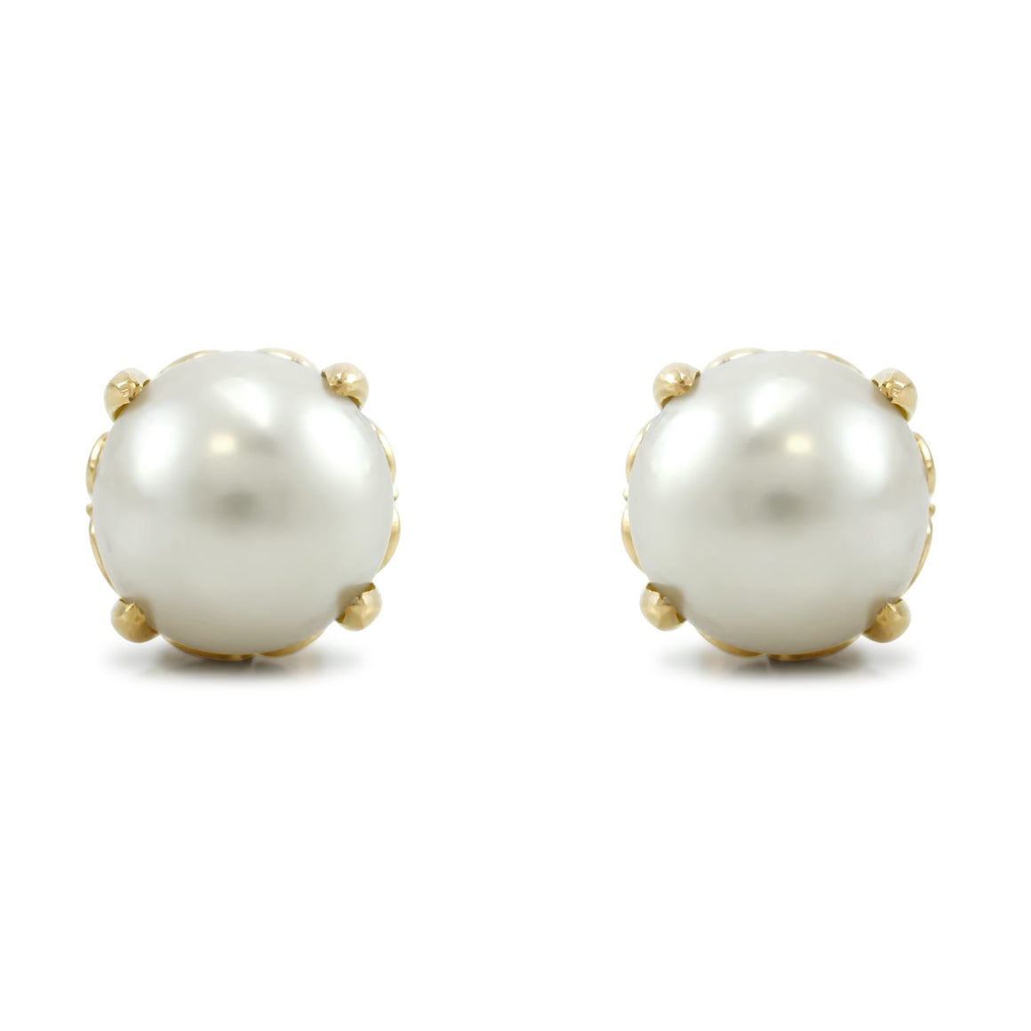 14k peach gold yellow and rose antique pearl stud earrings