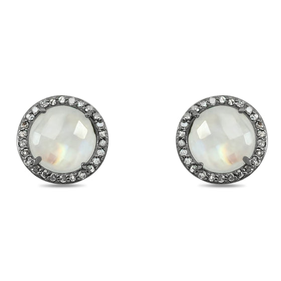 moonstone stud earrings with matching diamond halos set in blackened sterling silver