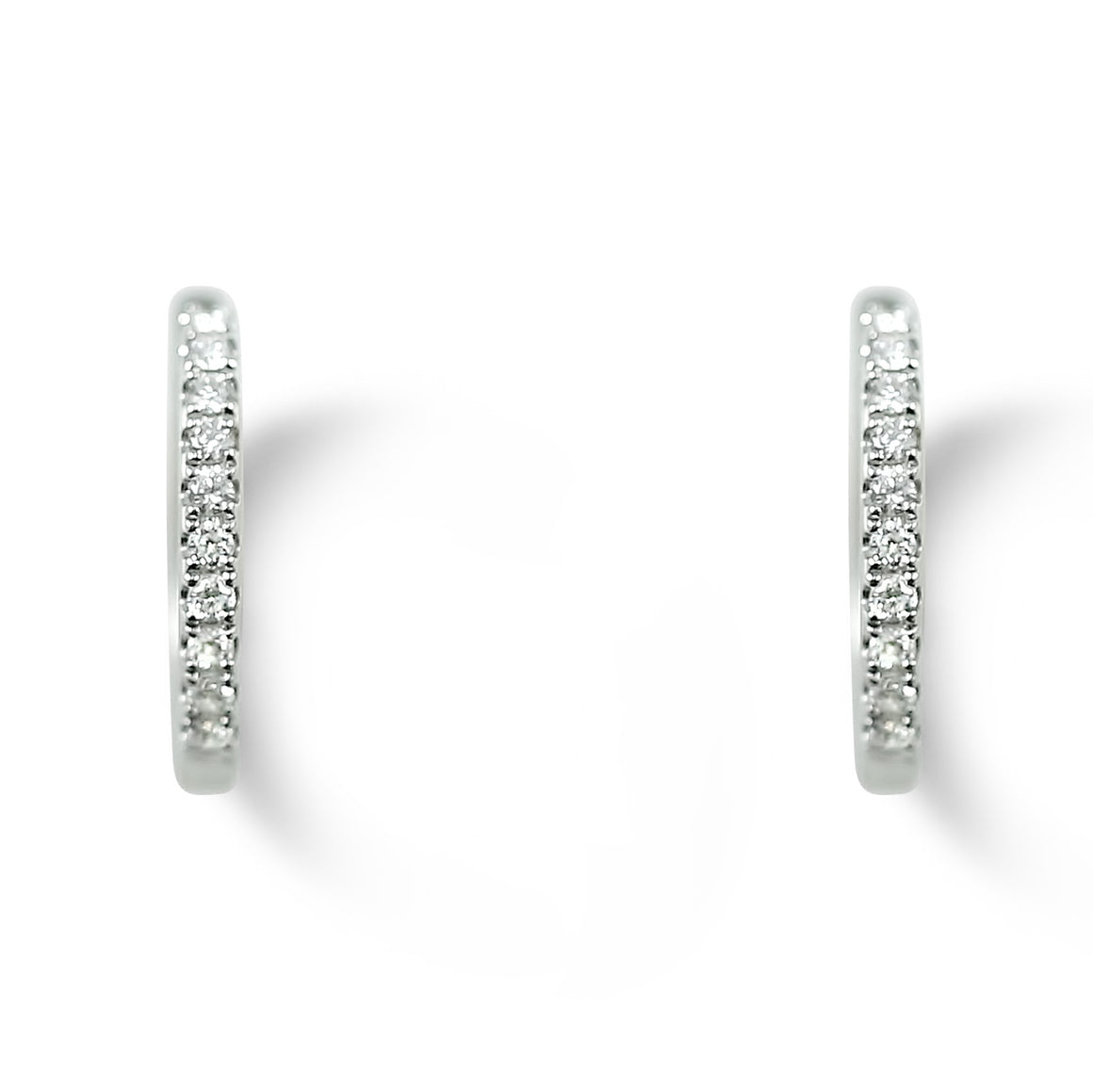 14k white gold oval diamond huggie earrings dainty hoops