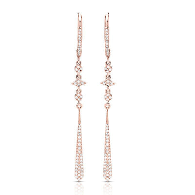 14k rose gold diamond dangle earrings with dainty round diamond and lever backs