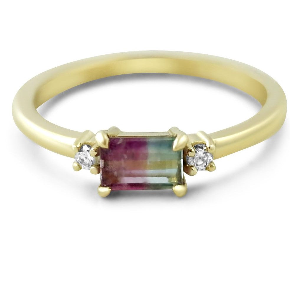 14k yellow gold bicolor tourmaline three stone stack ring with rbc diamonds under 1000