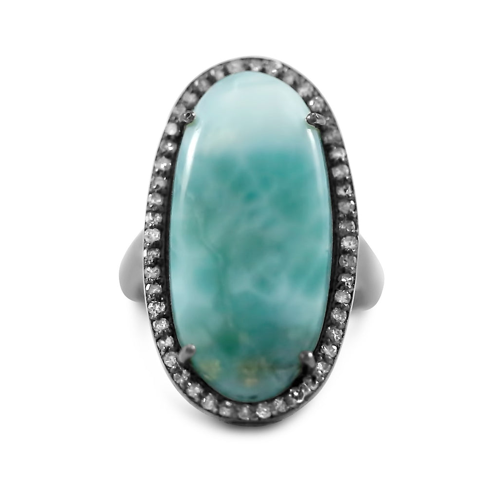 blackened sterling silver larimar gemstone ring prong set with a single cut diamond halo under 500