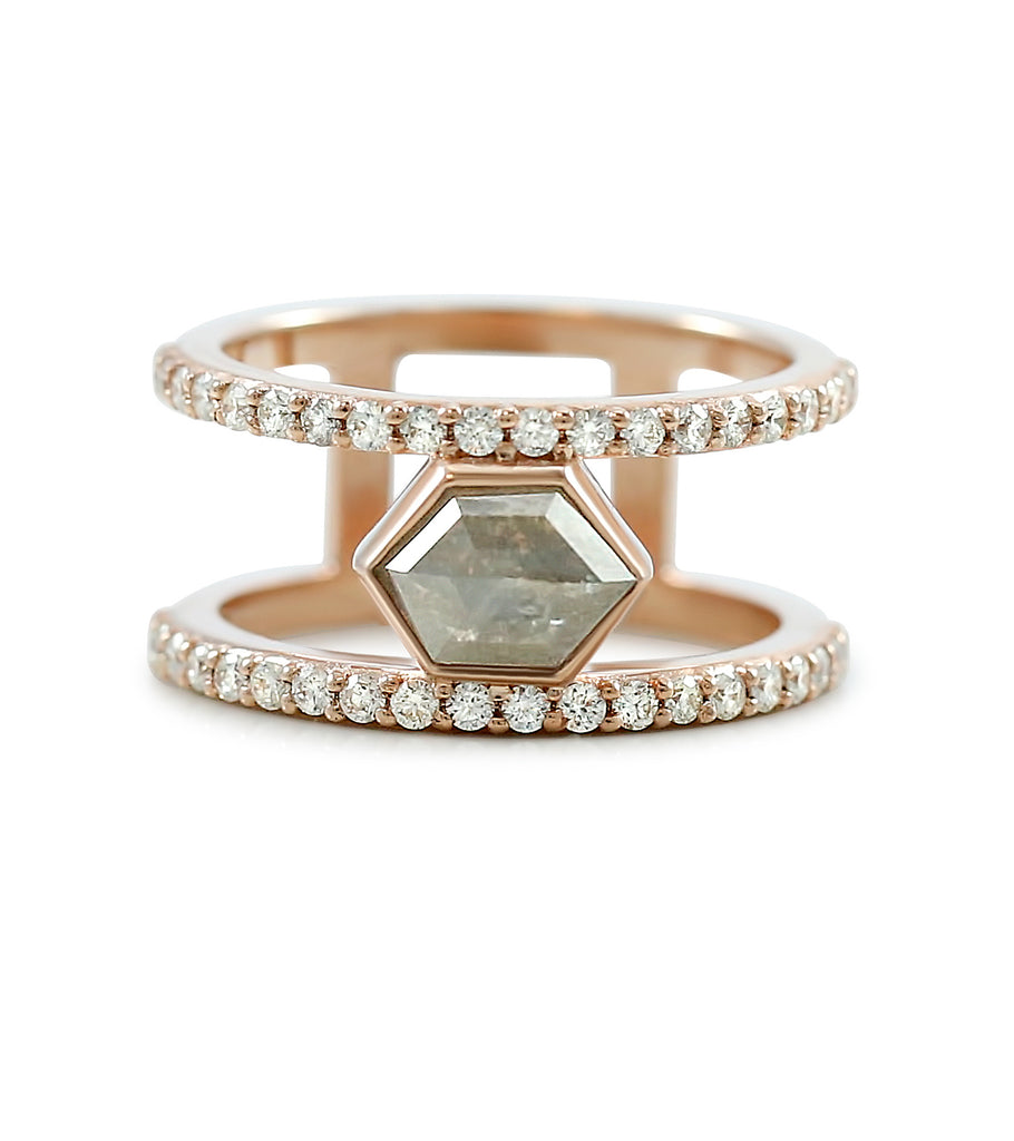 Negative space rose cut gray diamond ring with rose gold and white diamonds