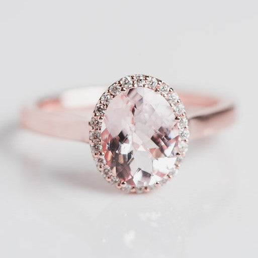 pink morganite gem diamond and rose gold statement ring