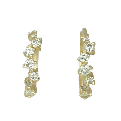 14k yellow gold prong set staggered diamond huggies under 500