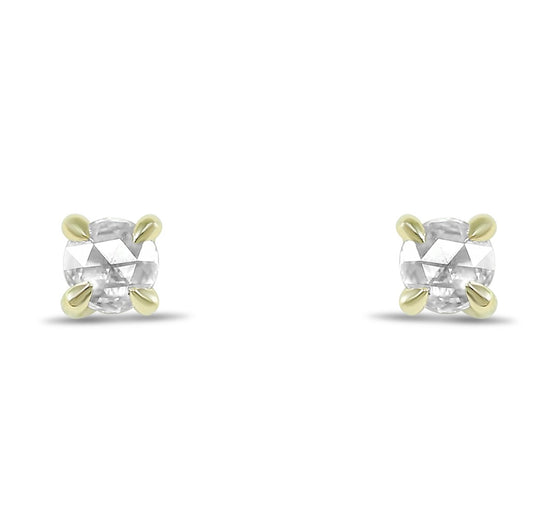 14k yellow gold 4mm rose cut diamond stud earrings 0.30tcw