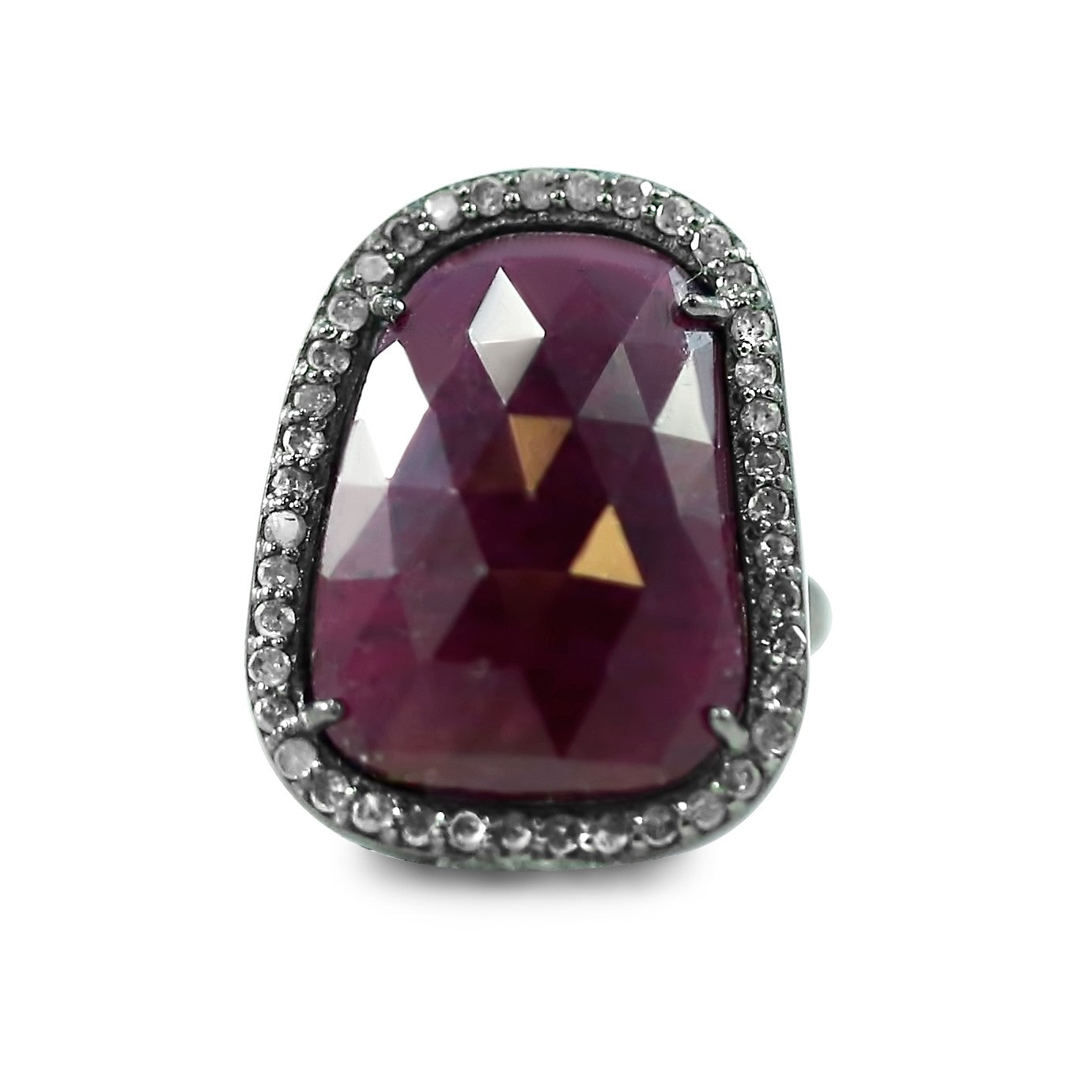 blackened sterling silver ruby gemstone right hand ring with a diamond halo and under 500