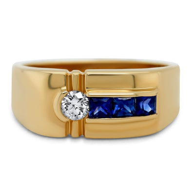 14k yellow gold princess cut sapphire and white diamond chunky estate ring