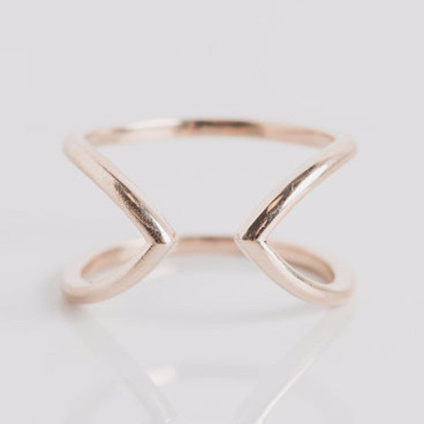 yellow gold geometric ring