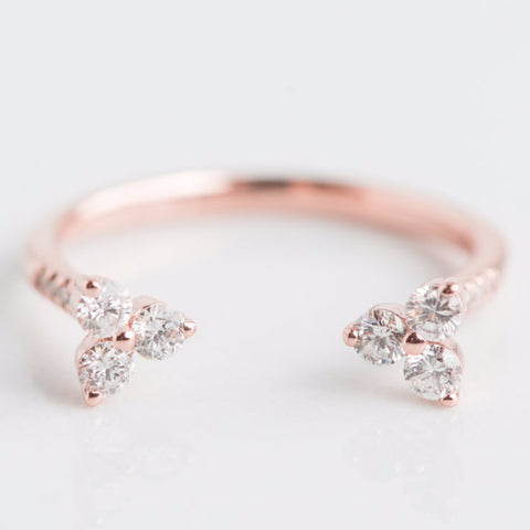 rose gold open diamond edgy cool ring