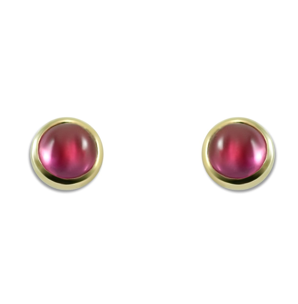 pink tourmaline bezel set stud earrings 14k yellow gold October birthstone