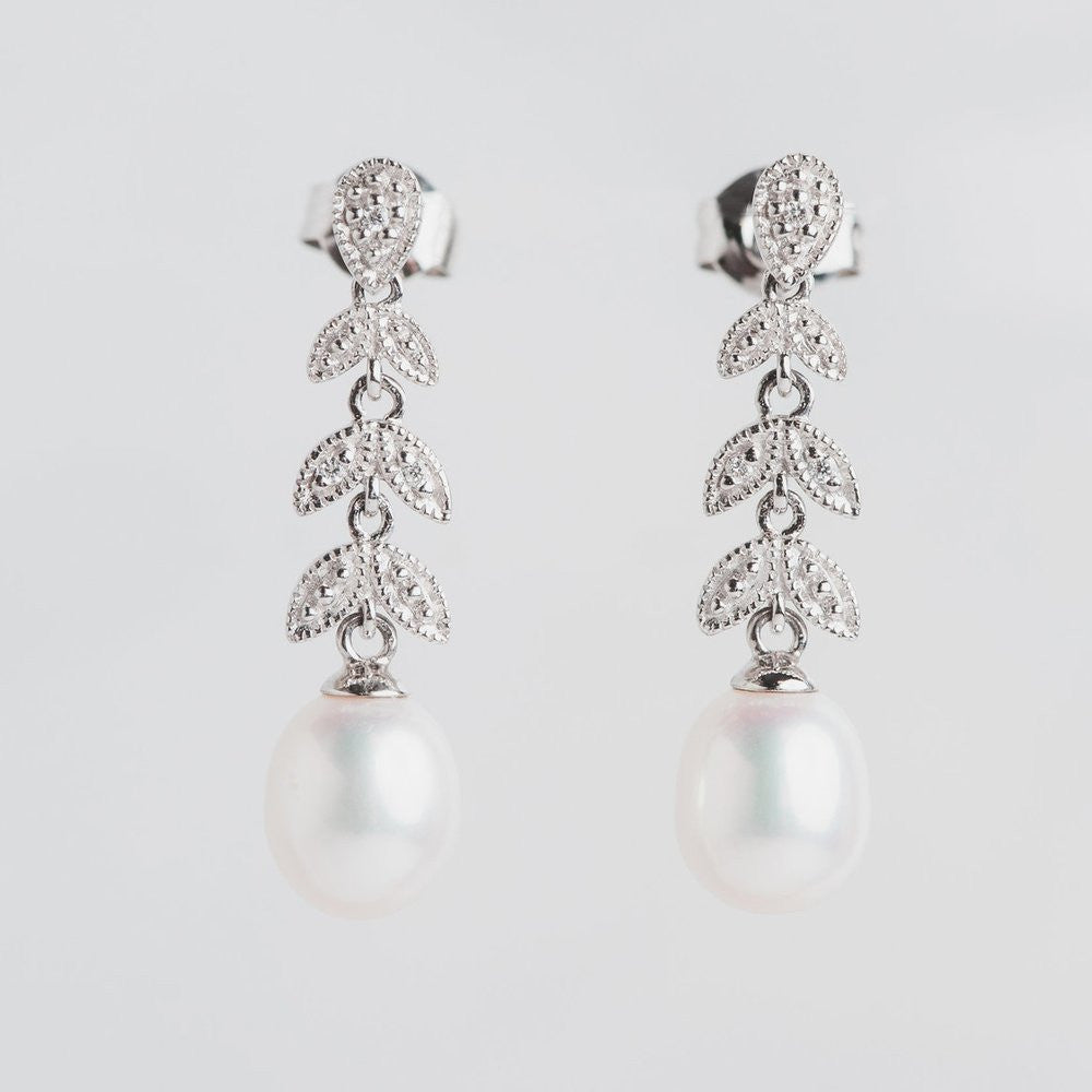 diamond leaf and pearl earrings