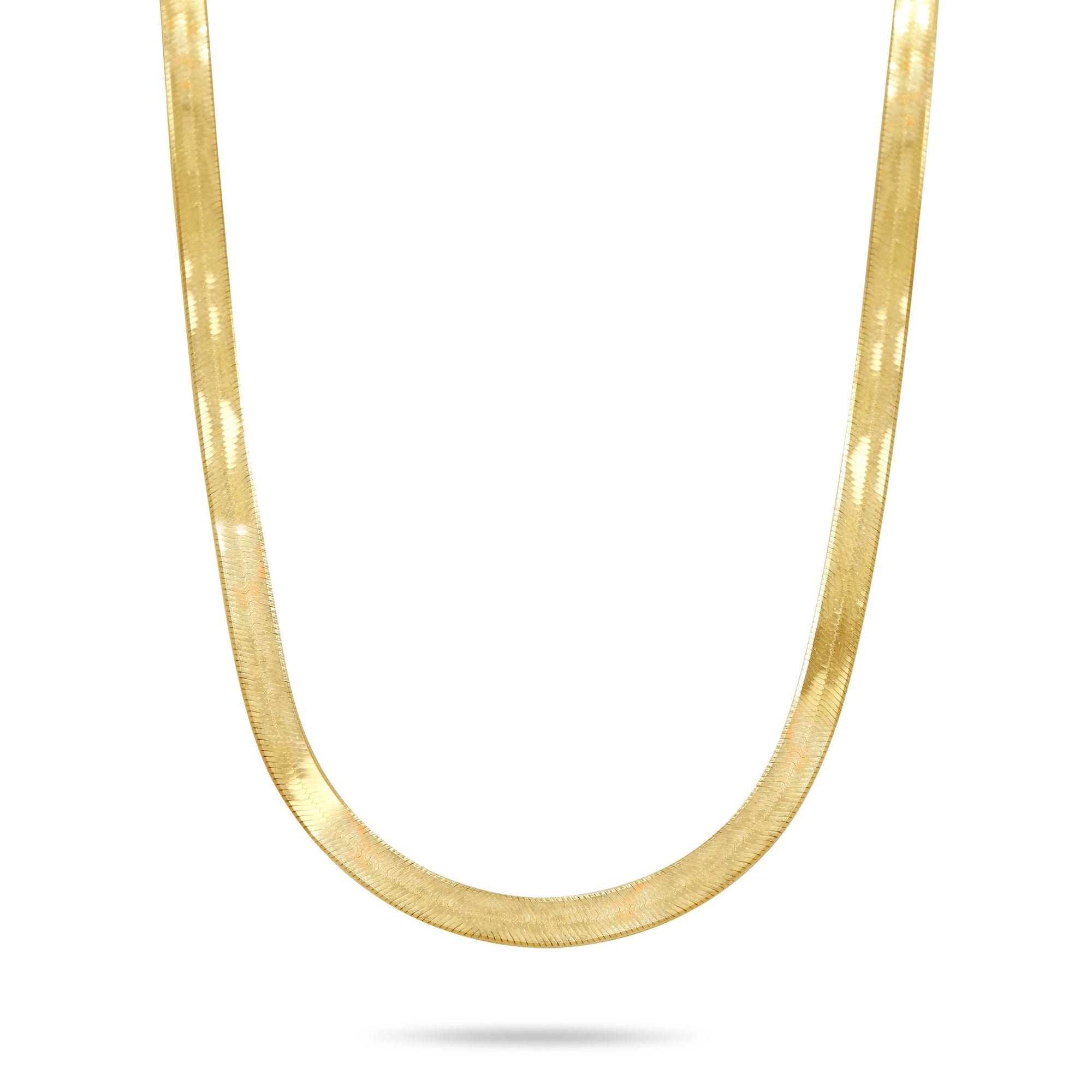 24in long herringbone yellow gold chain made in Italy